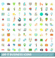 100 it business icons set cartoon style vector image