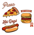 Pizza burger hot-dog in retro vector image