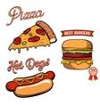Pizza burger hot-dog in retro vector image