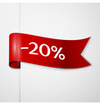 Red ribbon with inscription 20 percent discounts vector image