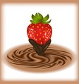 strawberry with chocolate swirl vector image