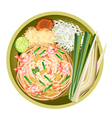 Pad Thai or Stir Fried Noodles with Shrimps vector image vector image