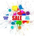 Sale Banner With Bright Ink Color Blots vector image