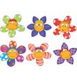 Cheerful small flowers Cartoon vector image