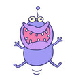 cute lucky smiling alien jumps up vector image