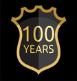 Golden shield 100 years vector image
