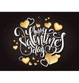 happy valentines day lettering with golden vector image