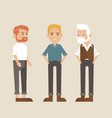 hipster style bearded man character set vector image