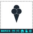 Ice cream balls in waffle cone icon flat vector image