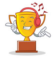 listening music trophy character cartoon style vector image