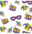 mardi gras mask drum hat jester pattern design vector image
