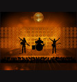 rock pop band on stage and crowd vector image