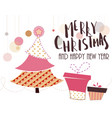 vintage christmas card with tree and ornaments vector image