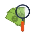 money bills and magnifying glass icon vector image