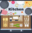 kitchen design background with cooking vector image