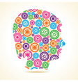 Group of colorful gears make a male face vector image vector image