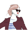 stylish hand drawn girl in sunglasses fashion vector image