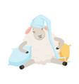 cute sleeping sheep character wearing hat funny vector image vector image