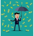 Businessman hold umbrella vector image
