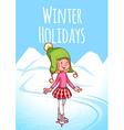 Cheerful blonde girl posing on skates vector image