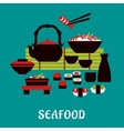 Japanese seafood in flat style vector image