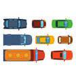 Overhead top view on colorful car toys different vector image