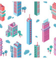 seamless pattern with isometric city buildings and vector image