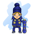 teen athlete snowboarder in sportswear holding a vector image