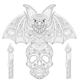 Zentangle stylized Bat seating on sugar Skull with vector image