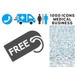 Free Tag Icon with 1000 Medical Business vector image