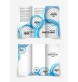 Tri-fold design brochure with blue circles vector image