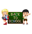 Children with back to school sign vector image
