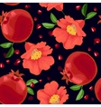 Pomegranate and Flowers Seamless Pattern vector image