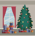 christmas home scene with window background and vector image