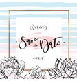 save the date cards wedding invitation with hand vector image