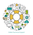 Technical Support Online - Line Concept vector image