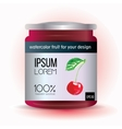 Template label design with cherry for fruit jam vector image