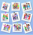 family photography set happy photos of relatives vector image