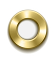 Gold donut button template with metal texture vector image