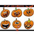 halloween pumpkins cartoon set vector image