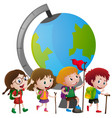 educational theme with kids and big globe vector image