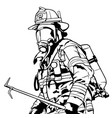 fireman with mask vector image
