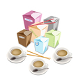 Food Boxs and Chopsticks on White Background vector image