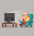 grandfather old man watching tv sit armchair vector image