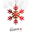Red snowflake decoration for Christmas card vector image