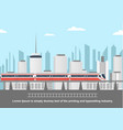 subway above ground in front of cityscape vector image