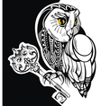 Tattoo owl with key vector image