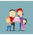 Happy family celebrating with big cake vector image