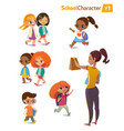 Set of happy joyful cartoon kids in motion and vector image