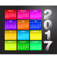 Colorful calendar for 2017 Week starts on sunday vector image vector image